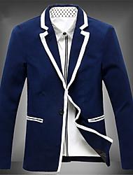 Masculino Blazer Casual Cor Solida Manga Comprida Linho Preto / Azul / Branco