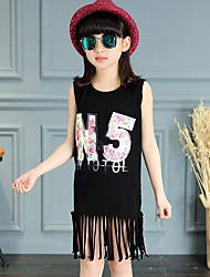 Girl's Black / White Dress,Cartoon Polyester Summer
