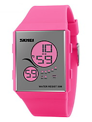 SKMEI® Women's Mirror Face Slim LCD Digital Rubber Band Sport Watch Cool Watches Unique Watches
