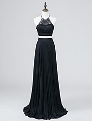 Formal Evening Dress - Two Pieces Sheath / Column Halter Sweep / Brush Train Chiffon with Beading