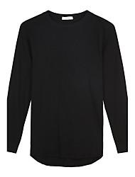Trenduality® Hombre Escote Redondo Manga Larga Camiseta Negro-63009