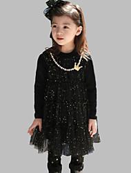 Girl's Black / Pink Dress Cotton Fall / Spring
