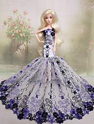 Barbie Doll-Festa e Noite-roxo claro- deCouro de Poliuretano-Vestidos- comVestidos