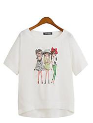 Damen Druck Übergröße / Street Schick Lässig/Alltäglich T-shirt,Rundhalsausschnitt Sommer Kurzarm Weiß / Beige Polyester Mittel