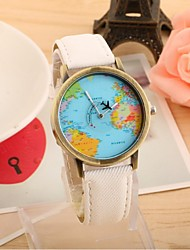 Women's Men's Couple's Fashion Watch Quartz Casual Watch Fabric Band World Map Black White Blue Red Green Yellow