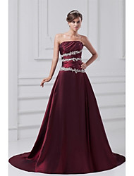 Formal Evening Dress A-line Strapless Court Train Taffeta