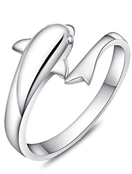 Sterling Silver Ring Dolphin Silver Plated Ring Adjustable Fashion Jewelry for Women Wedding Engagement Ring