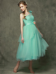 Tea-length Tulle Bridesmaid Dress A-line One Shoulder with Bow(s) / Flower(s)