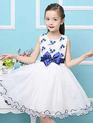 A-line Knee-length Flower Girl Dress - Satin / Tulle / Polyester Sleeveless Jewel with