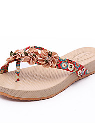 Women's Shoes PU Flat Heel Slippers Sandals / Slippers Outdoor / Dress / Casual Blue / Red