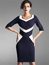 Baoyan® Femme Col en V Manches 1/2 Au dessus des genoux Robes-150419