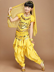 Belly Dance Outfits Children's Performance Chiffon Sequins 4 Pieces Short Sleeve Dropped Pants / Top / Veil / Hip Scarf