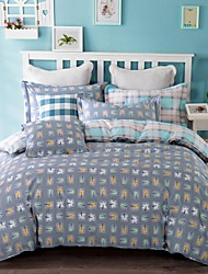 100% Cotton Twill Plaid 3 Pcs Sheet Set for Twin Size Bed or Queen Size Bed