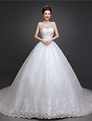 Ball Gown Wedding Dress-Chapel Train Scoop Lace / Satin / Tulle