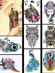 8pcs mulheres homens impermeáveis arte corporal deus elefante indiano projeto animais pavão coruja jóias padrão