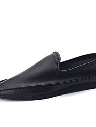 Men's Genuine Leather Shoes Slip on Driving Shoes Black / Yellow / White