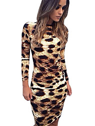 Women's Sexy Bodycon Inelastic Long Sleeve Above Knee Dress (Cotton)