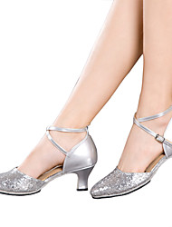 Women's Dance Shoes Latin Patent Leather / Sparkling Glitter / Paillette / Synthetic Cuban HeelBlack / Red / Silver /