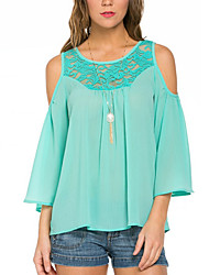 Women's Solid Green Blouse,Round Neck ½ Length Sleeve