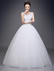 Ball Gown Wedding Dress Floor-length Scoop Satin / Tulle with Appliques