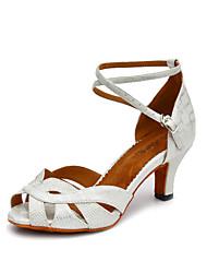 Women's Dance Shoes Salsa Leatherette Flared Heel Black / White / Gold