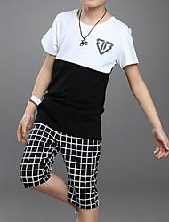 Boy's Cotton Clothing Set,Summer Check
