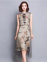 Women's Going out Street chic Swing Dress,Print Stand Asymmetrical Sleeveless Gray Silk Summer