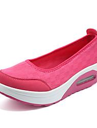 Zapatos de mujer-Tacón Cuña-Cuñas / Zapatos de Cuna-Mocasines-Exterior / Casual / Deporte-Tejido-Negro / Rosa / Blanco / Gris
