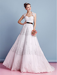 LAN TING BRIDE A-line Wedding Dress Two-in-One Wedding Dress with Wrap Sweep / Brush Train Sweetheart Lace with Lace