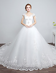 Ball Gown Wedding Dress Floral Lace Chapel Train V-neck Lace Satin Tulle with Beading Lace