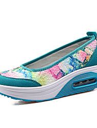 Women's Spring / Summer / Fall / Winter Wedges Lace / PU Outdoor / Casual / Athletic Platform Slip-on Blue / Purple / Gray