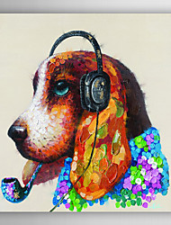 Hand Painted Oil Painting Animal Dogs with Headset with Stretched Frame 7 Wall Arts®