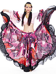 Belly Dance Outfits Women's Performance Chiffon Satin / Polyester Pattern/Print / Ruffles 2 Pieces Pink / Red Belly Dance Lace-upLong