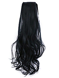 Black Length 50CM Factory Direct Sale Bind Type Curl Horsetail Hair Ponytail(Color 1)
