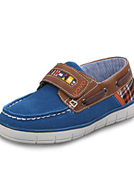 Boy's Spring / Summer / Fall Comfort / Round Toe / Closed Toe Leather Casual Flat Heel Plaid / Magic Tape Blue / Green