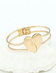 Women's European Style Classic Fashion Glossy Heart-shaped Double Heart Bracelet