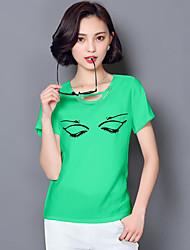 Women's Print White / Green / Orange Blouse,Round Neck Short Sleeve