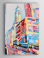 Hand Painted Oil Painting Landscape Abstract The Colorful City with Stretched Frame 7 Wall Arts®
