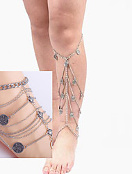 Ribbon Ankle Chain Barefoot SandalsThigh Chain Bracelet Bridesmaid Barefoot Jewelry Set(2pc Thigh Chain+2PcAnkle Chain)