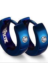 women Stainless Steel blue gold   Hoop Earrings