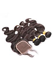 onda do corpo brasileiro com 3Bundles fechamento tece trama do cabelo humano com fecho de cabelo virgem não transformados com fechamento