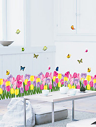 Stairs Skirting Line Colorful Tulip Flower Wall Stickers PVC Butterfly Glass Wall Decals