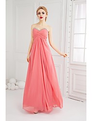 Prom Formal Evening Dress - Open Back A-line Sweetheart Floor-length Chiffon with Beading Criss Cross