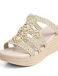 Women's Shoes Wedge Heel Wedges / Peep Toe / Platform Sandals Outdoor / Dress / Casual Almond