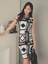 Women's Vintage Geometric Bodycon Dress,Round Neck Knee-length Polyester