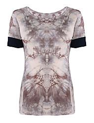 Damen Druck Einfach / Street Schick Lässig/Alltäglich T-shirt,Rundhalsausschnitt Sommer Kurzarm Schwarz / Braun Baumwolle / Kunstseide