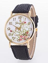 дамы часы новый простой пион ремень кварцевые часы циферблат