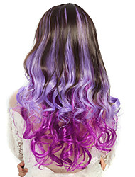 24 inch Women Long Deep Wave Curly Synthetic Hair Wig Ombre Purple with Free Hair Net
