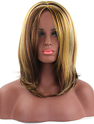 Natural Middle Length Brown Color Popular Straight Synthetic Wig For Woman