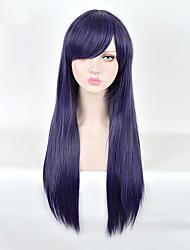 longue couleur pourpre cheveux raides perruque synthétique européenne